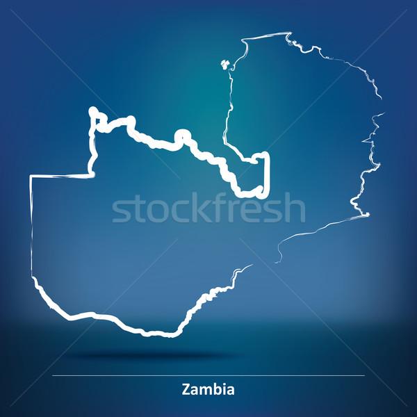 болван карта Замбия Мир знак синий Сток-фото © ojal