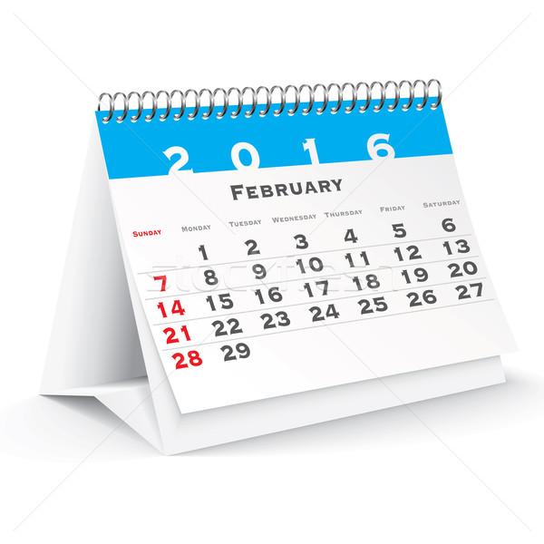February 2016 desk calendar Stock photo © ojal