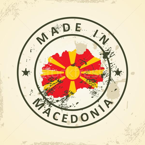 штампа карта флаг Македонии Гранж Мир Сток-фото © ojal