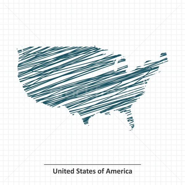 Doodle sketch of United States of America map Stock photo © ojal