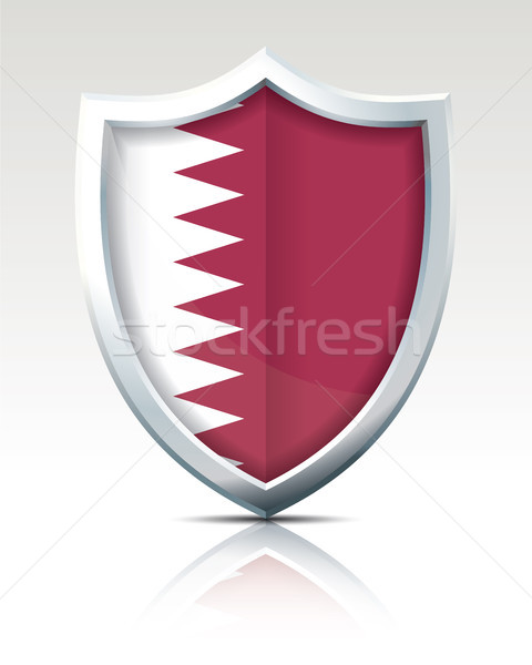 Stock photo: Shield with Flag of Qatar