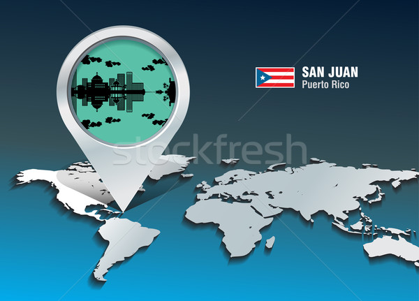 Map pin with San Juan skyline Stock photo © ojal