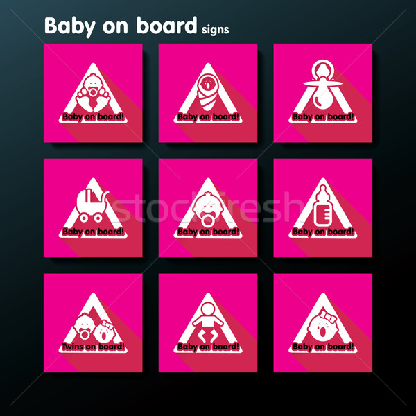 Vector flat baby on board sign set Stock photo © ojal