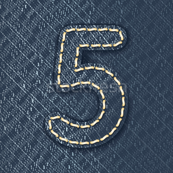 Stock photo: Number 5 made from jeans fabric