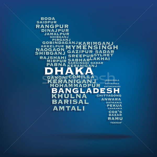 Bangladesh map made with name of cities Stock photo © ojal