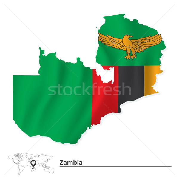 карта Замбия флаг дизайна Мир зеленый Сток-фото © ojal