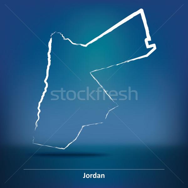 Doodle Map of Jordan Stock photo © ojal