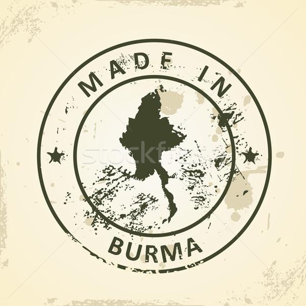 Stempel kaart birma grunge ontwerp achtergrond Stockfoto © ojal