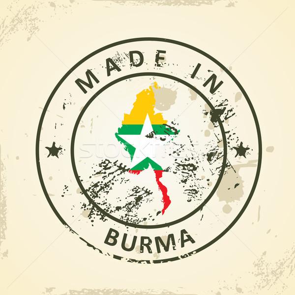 Stempel kaart vlag birma grunge abstract Stockfoto © ojal