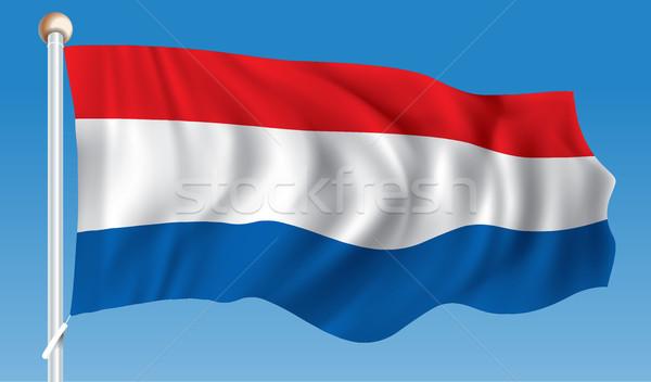 Bandera Países Bajos mundo azul silueta digital Foto stock © ojal
