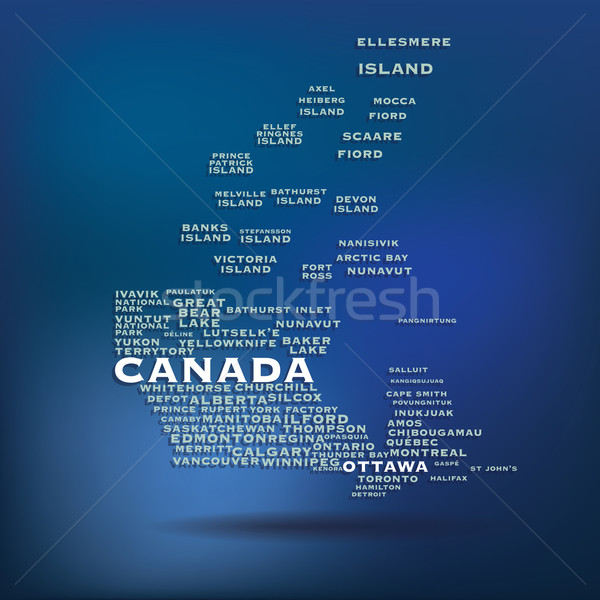 Canada map made with name of cities Stock photo © ojal