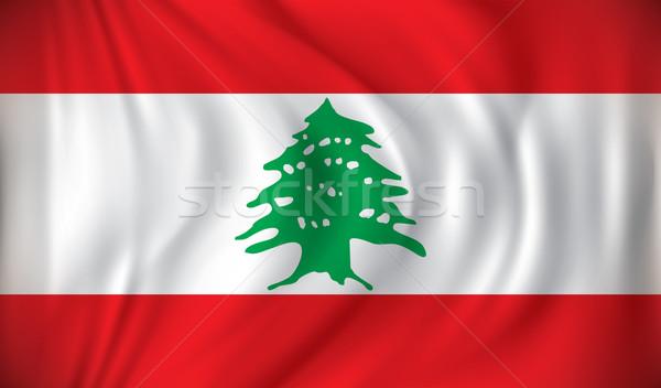 Bayrak Lübnan harita dizayn seyahat kırmızı Stok fotoğraf © ojal