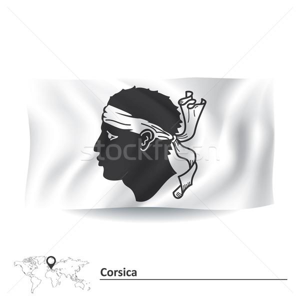 Zászló Korzika tenger iránytű fej sziget Stock fotó © ojal