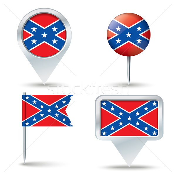 Map pins with Confederate flag Stock photo © ojal