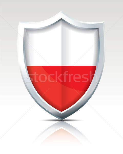 Escudo bandeira Polônia fundo assinar viajar Foto stock © ojal