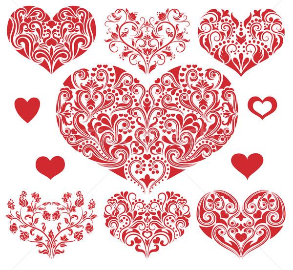Szett szívek minta forma szív esküvő Stock fotó © oksanika
