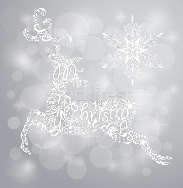 Szarvas hópehely karácsonyi üdvözlet rénszarvas sziluett fehér Stock fotó © oksanika