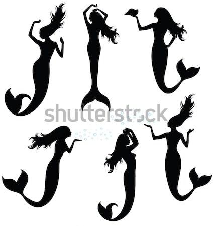 Vektor sziluettek hableány víz nők tenger Stock fotó © oksanika
