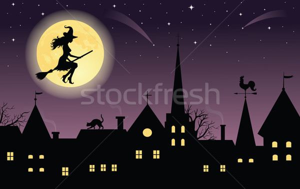 Sziluett boszorkány seprű repülés város telihold Stock fotó © oksanika
