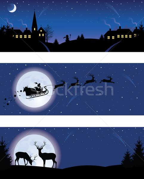 Karácsony bannerek szett ház fa ablak Stock fotó © oksanika