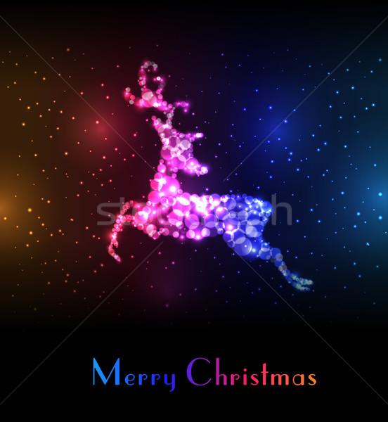 Herten kleurrijk rendier sneeuw snelheid Stockfoto © oksanika