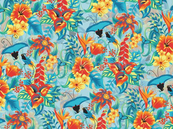 Tropische patroon naadloos vogels bloem voorjaar Stockfoto © oksanika