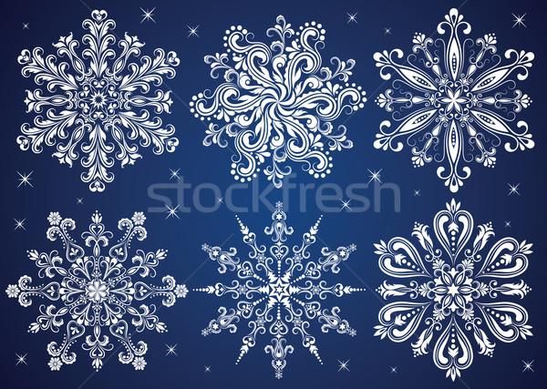Hópelyhek szett minta forma hópehely absztrakt Stock fotó © oksanika