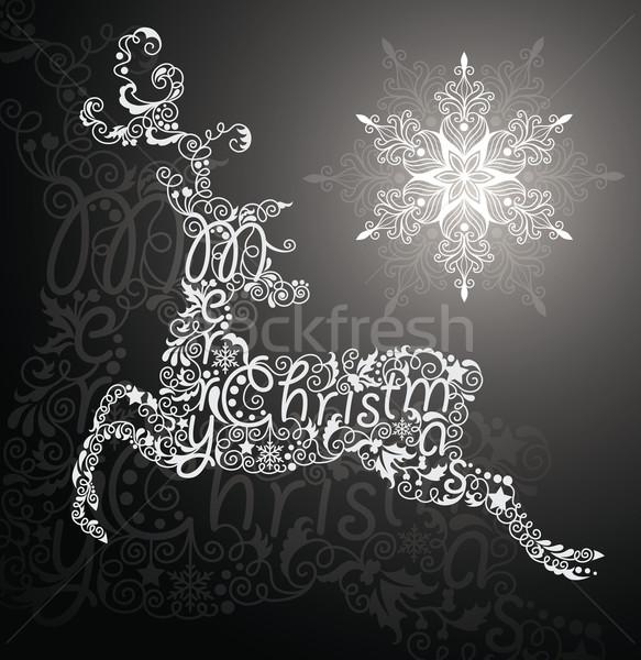 Szarvas hópehely karácsonyi üdvözlet rénszarvas tetoválás bogyó Stock fotó © oksanika