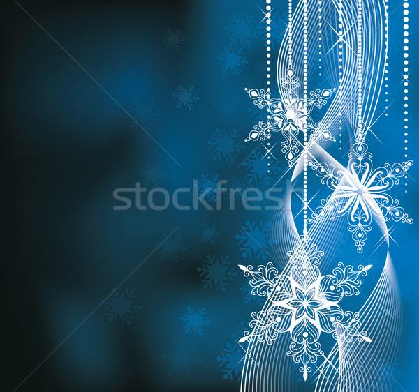 Karácsony kék színek hópelyhek Stock fotó © oksanika
