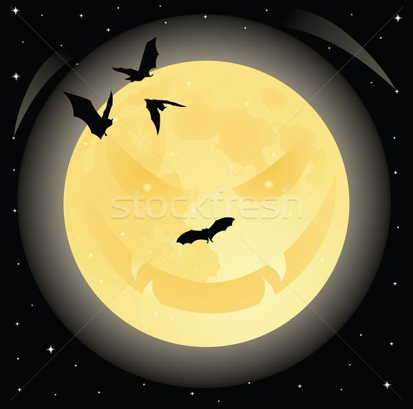 Gonosz hold halloween mosolygós arc éjszakai ég tele Stock fotó © oksanika