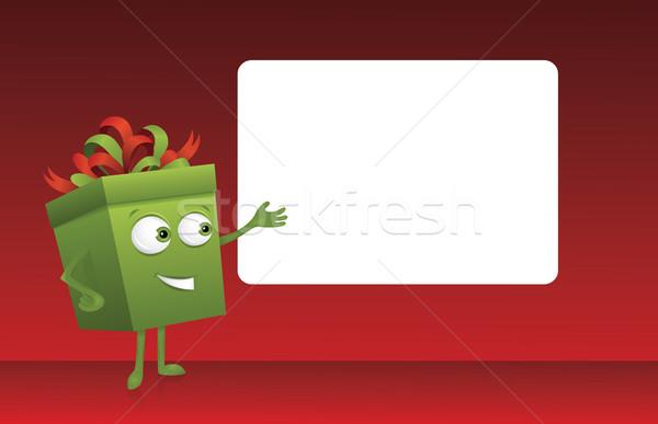 Ajándék aranyos mutat fehér tábla boldog piros Stock fotó © oksanika