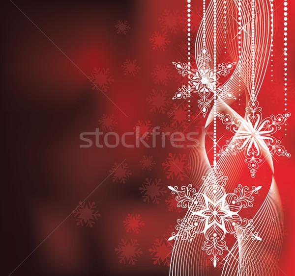 Karácsony piros színek hópelyhek absztrakt hó Stock fotó © oksanika