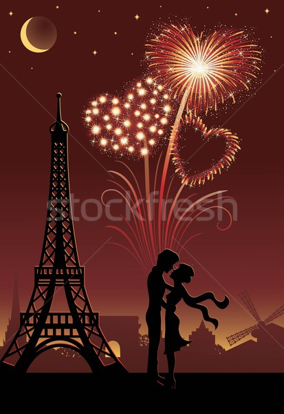 Tűzijáték Párizs sziluett pár tűzijáték forma Stock fotó © oksanika