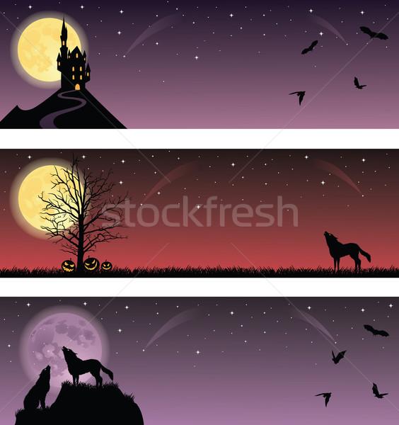 Halloween bannerek szett fa fű hold Stock fotó © oksanika