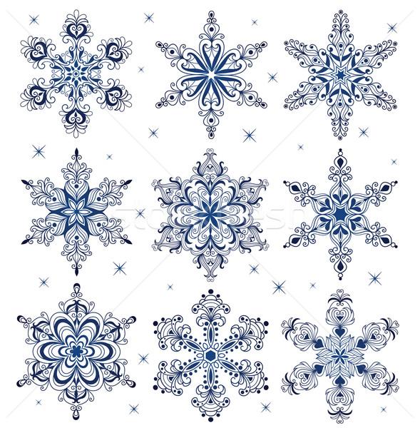 Hópelyhek szett minta forma hópehely Stock fotó © oksanika