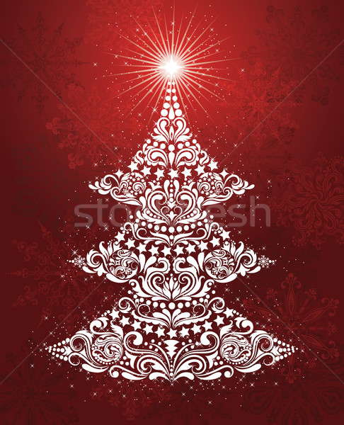 Karácsonyfa minta forma piros absztrakt szív Stock fotó © oksanika