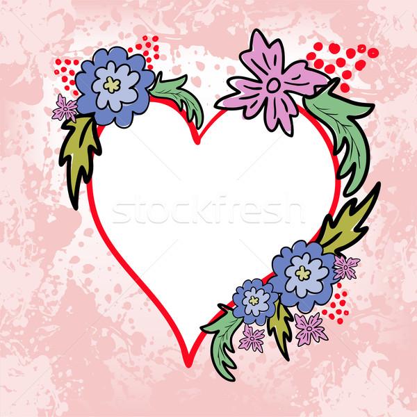 Hart bloemen voorjaar bruiloft liefde blad Stockfoto © Oksvik