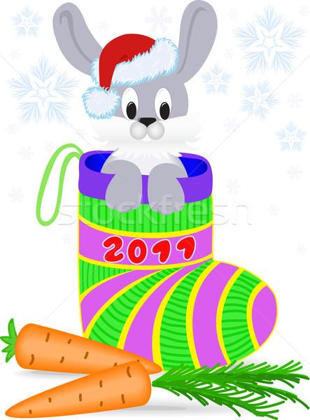 Yeni yıl tavşan Noel kapak Stok fotoğraf © Oksvik