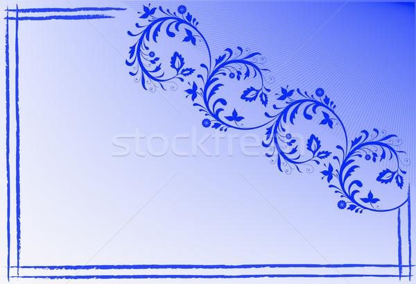 синий визитной карточкой цветочный кадр свет фон Сток-фото © Oksvik