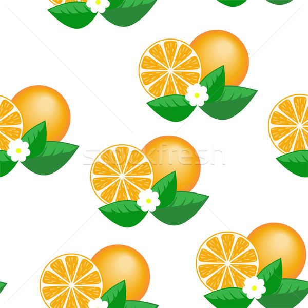 Oranje bloemen witte ontwerp vruchten Stockfoto © Oksvik