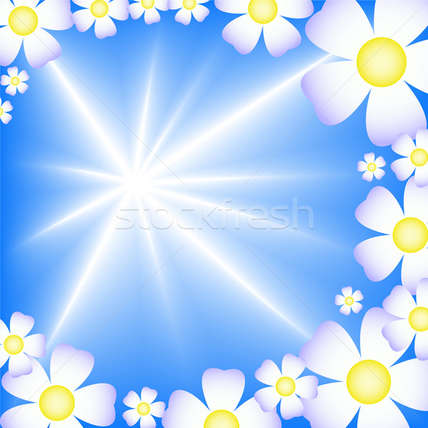 abstract blue background with white flowers Stock photo © Oksvik