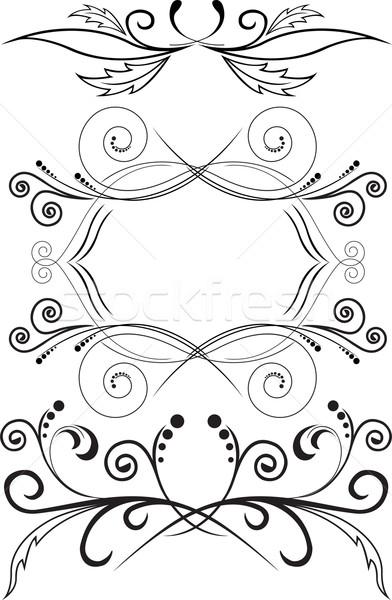 Ingesteld symmetrisch ornamenten drie zwarte abstract Stockfoto © Oksvik