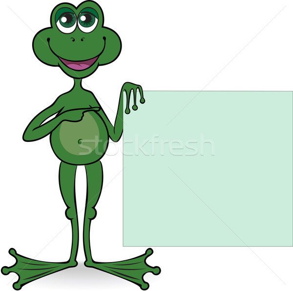 Frog with a square banner Stock photo © Oksvik