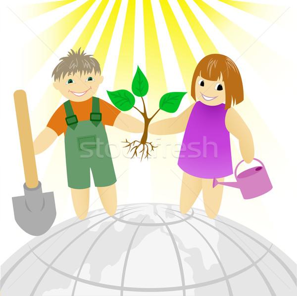 детей дерево мальчика девушки Постоянный земле Сток-фото © Oksvik