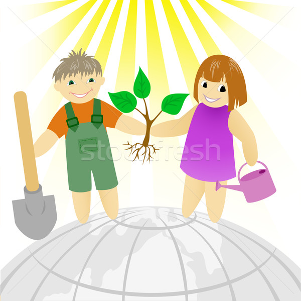 Kinderen boom jongen meisje permanente aarde Stockfoto © Oksvik
