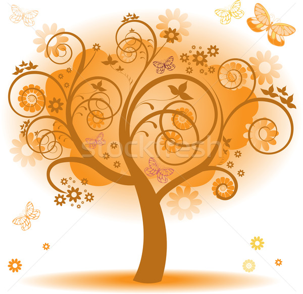 Arbre orange laisse Fantasy papillons design Photo stock © Oksvik