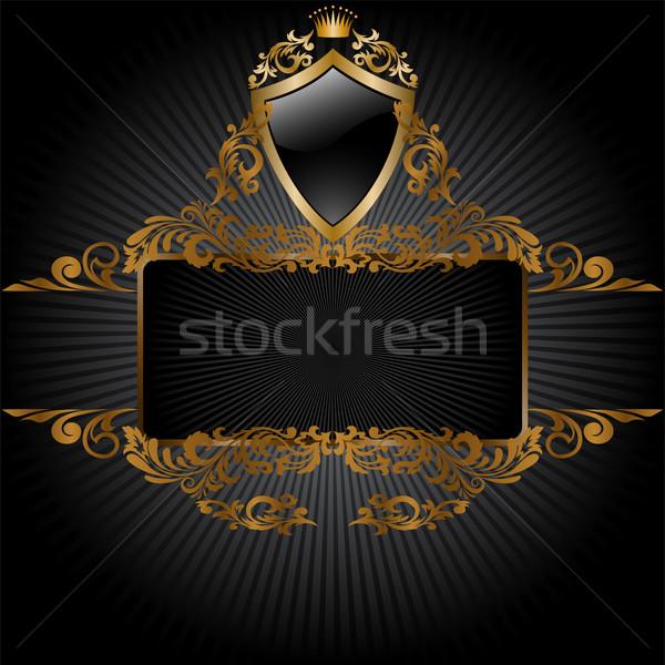 Zwarte koninklijk symbolen horizontaal banner frame Stockfoto © Oksvik