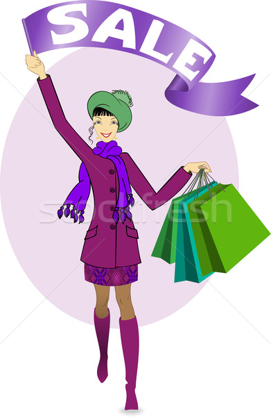 Meisje verkoop mooi meisje lopen vrouw Stockfoto © Oksvik