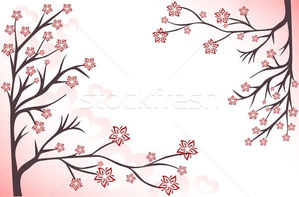 pink background with branches Stock photo © Oksvik