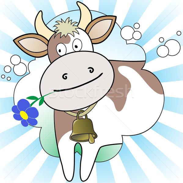 корова цветок белый синий улыбка фон Сток-фото © Oksvik
